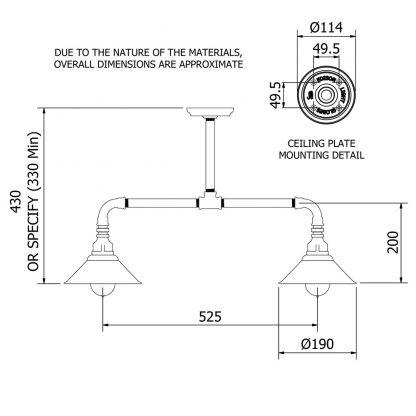 Galvanised Plumbing Pipe Short Table Light