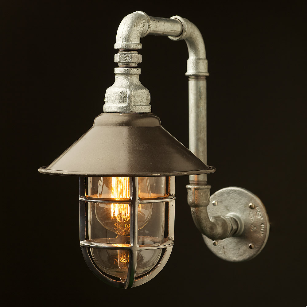Wall Fitting Lamp Shades : Outdoor Plumbing pipe wall shade lamp