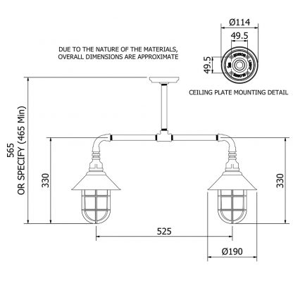 Outdoor Galvanised Plumbing Pipe Short Table Light dimensions