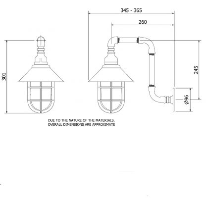 Outdoor Plumbing Pipe Wall Shade Lamp
