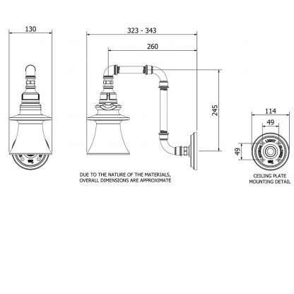 Plumbing Pipe Insulator Wall Light fluted dimensions