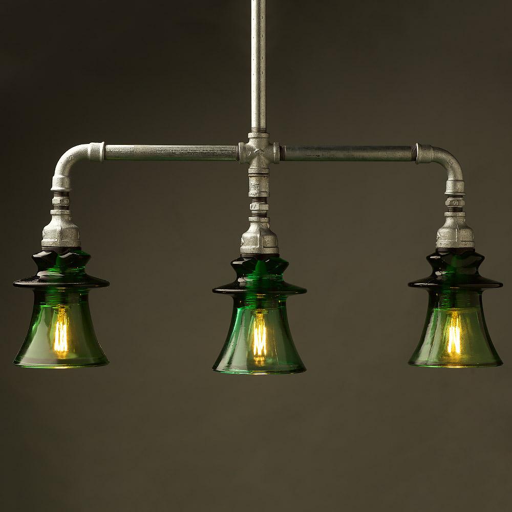 Plumbing Pipe Green Russian Insulator Table Pendant