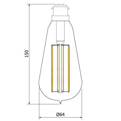 6 Watt Dimmable Lantern Filament LED B22 Clear Edison dimensions