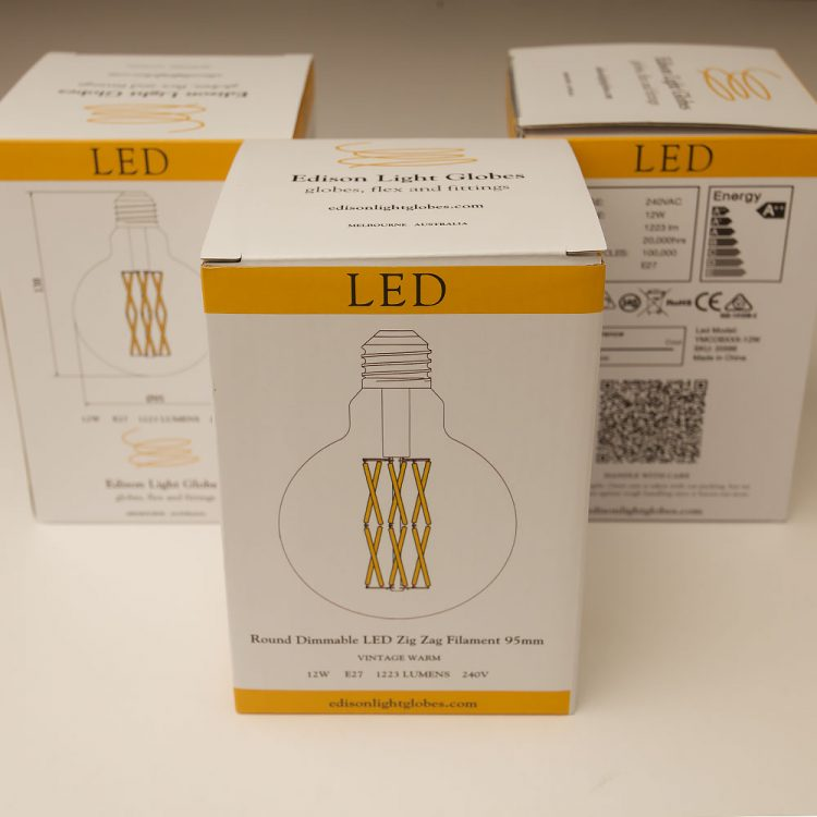 10 Watt Dimmable Filament LED E27 Clear 95mm Round Bulb