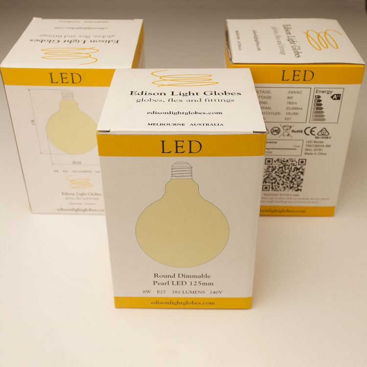 8 Watt Dimmable LED E27 125 Round Pearl Bulb