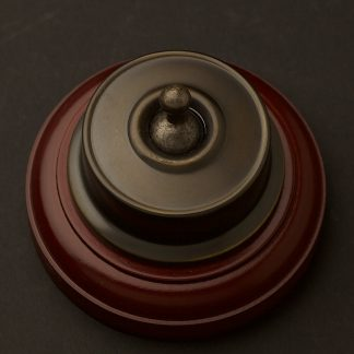 Federation Antique Brass single light switch on optional timber block