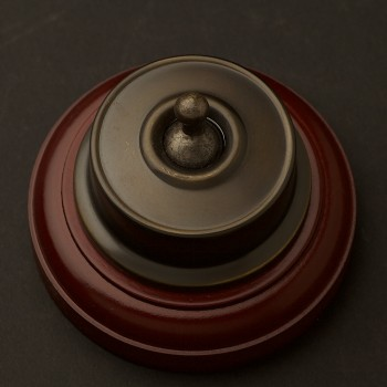 Antique-Brass-Federation-toggle-switch-timber-base