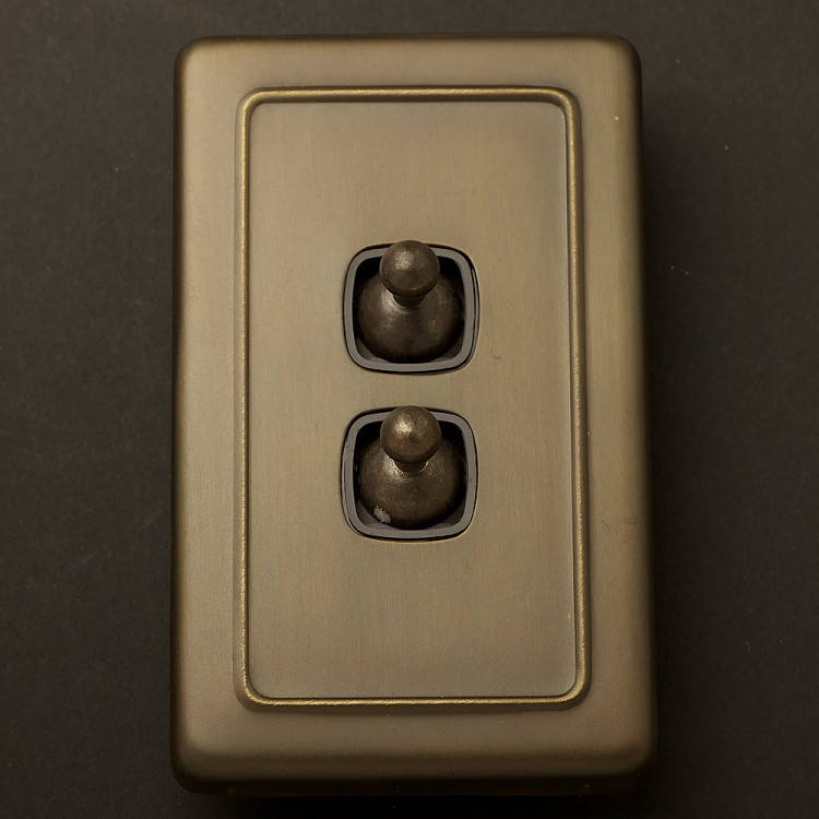Traditional Antique Brass large plate double rocker switch