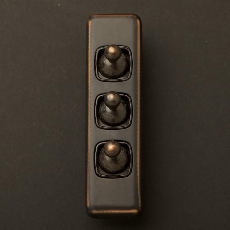 Traditional Antique Copper triple rocker switch