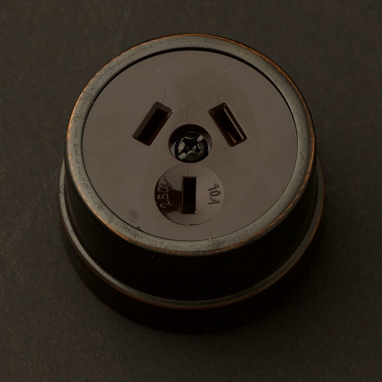 Traditional Antique copper single 3 pin socket