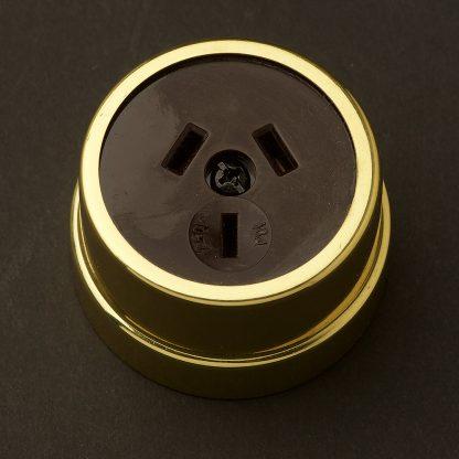 Traditional Brass single 3 pin socket
