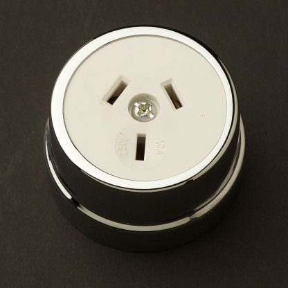 Traditional Chrome plate single 3 pin socket