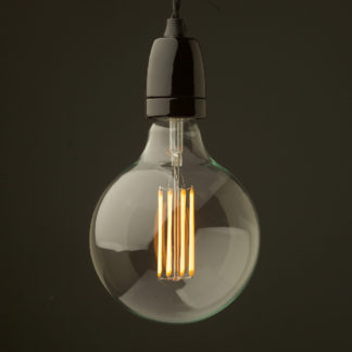 Edison style light bulb and E27 black fine porcelain pendant G125 8W LED