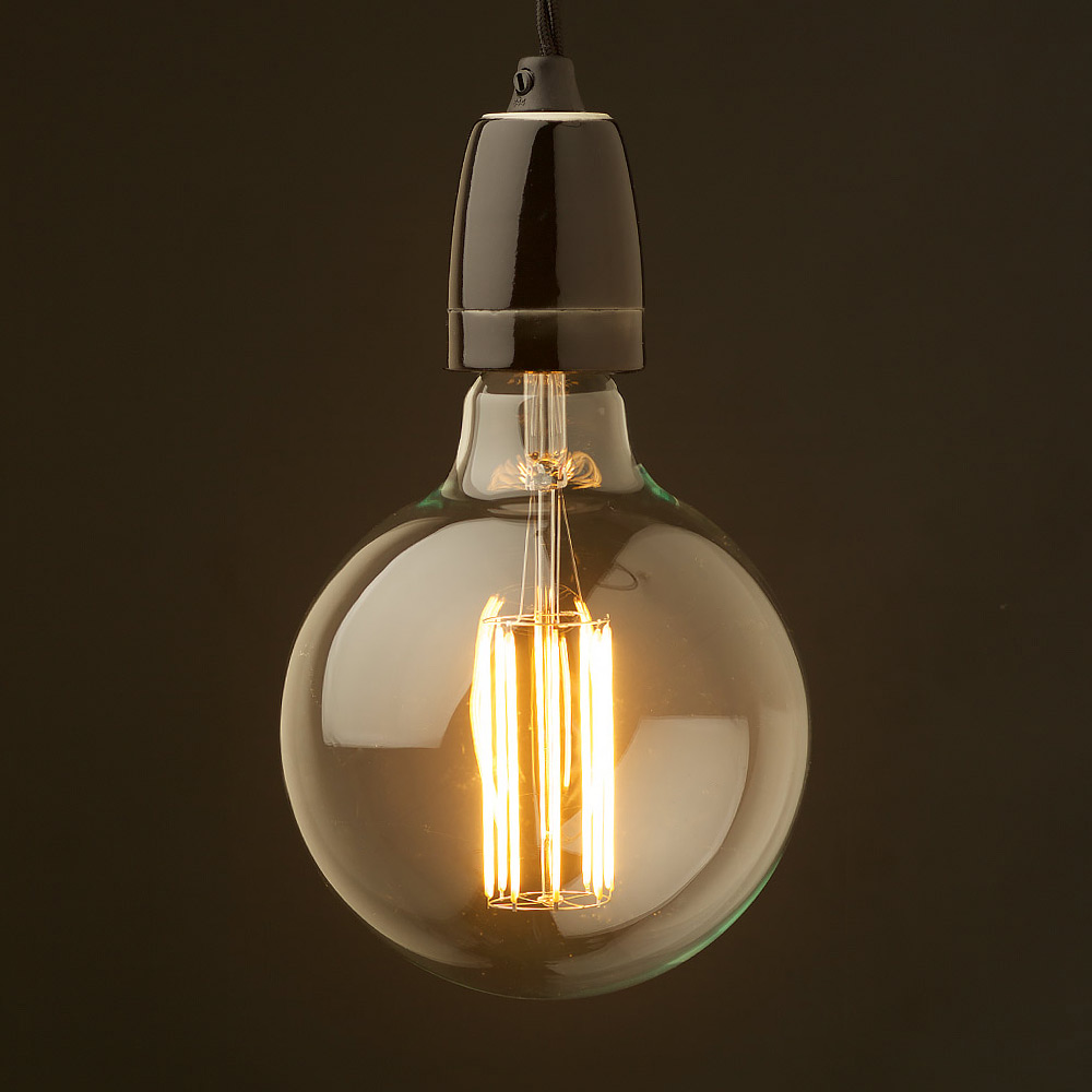 edison style light bulb and e27 black fine porcelain pendant