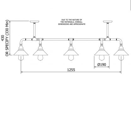 Galvanised Plumbing Pipe Dining Table Light