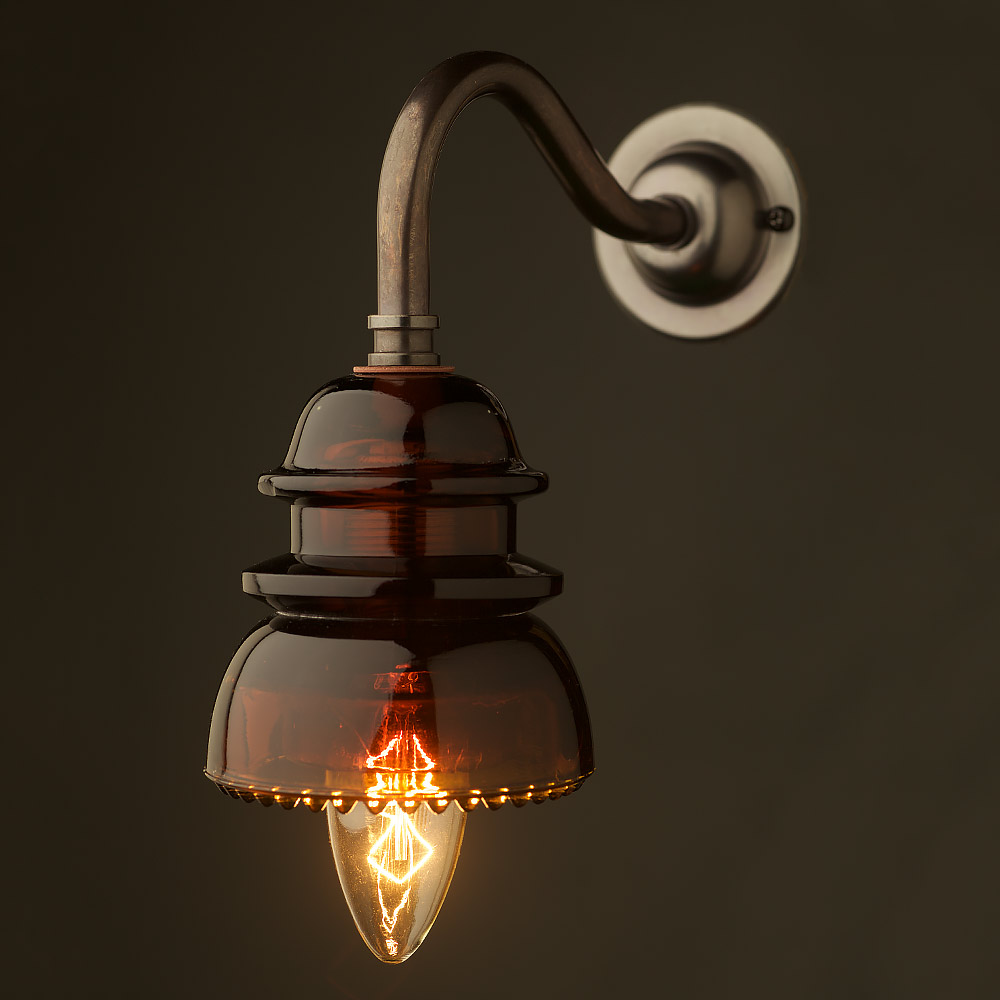Fitting Wall Lights With No Earth : Brass Coventry Wall Insulator No42 Amber