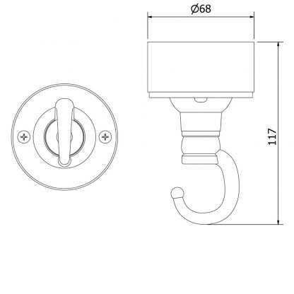 Cast aluminium chain hook ceiling rose and connection box
