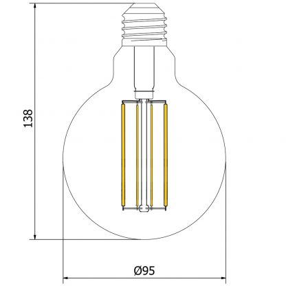 6 Watt Dimmable Filament LED E27 G95