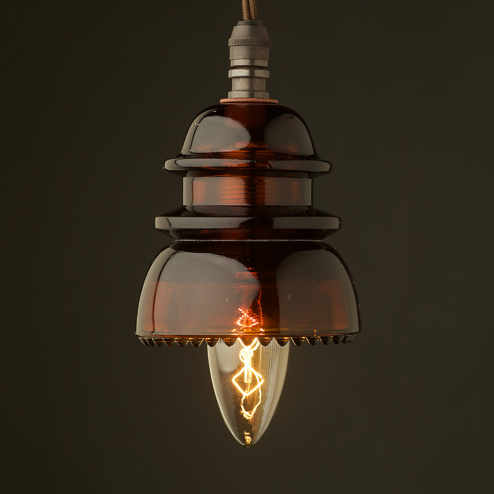 Insulator Amber V E Pendant Light Vintage Candle Bulb on Festoon Led Bulb