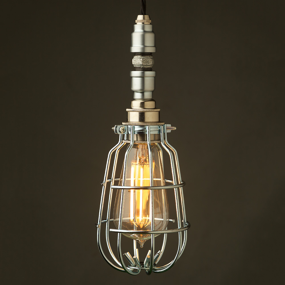 Industrial Caged Pendant With Rivets: Plumbing Pipe Caged Pendant Light