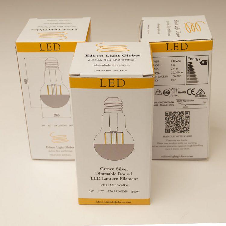 5 Watt Dimmable Crown Silver Filament LED E27 GLS