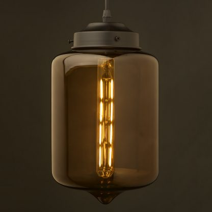 Dark Coffee colored glass straight edged jar pendant
