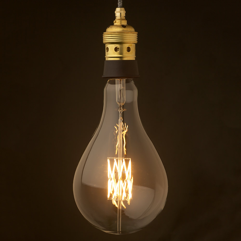 Edison Style Light Bulb And E40 Brass And Ceramic Pendant