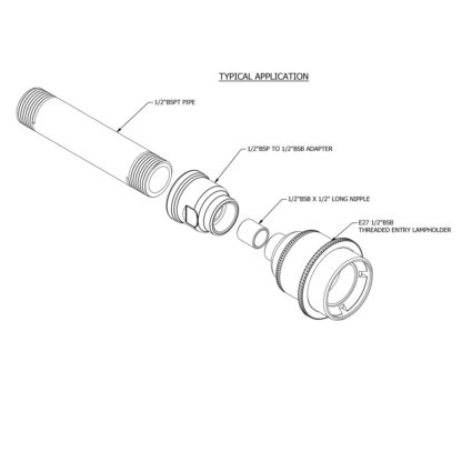 Plumbing Pipe To Light Fitting Coupler half inch Assembly