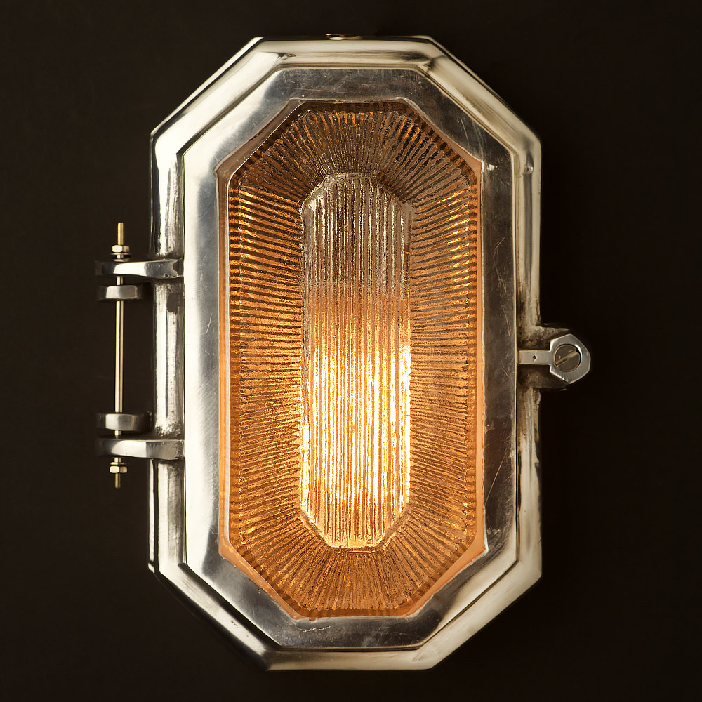 Hexagonal Aluminium Art Deco Bulkhead Light Edison Light