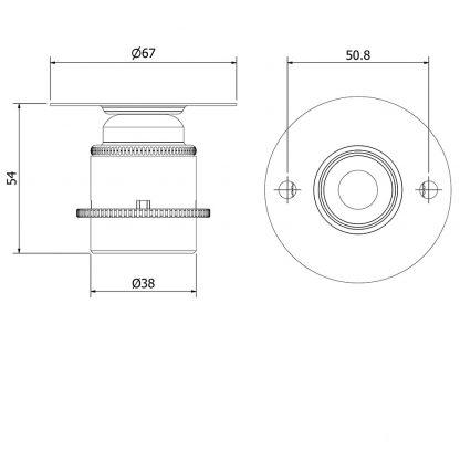 Short E27 Brass Batten Holder dimensions