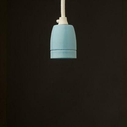 E27 light blue porcelain pendant