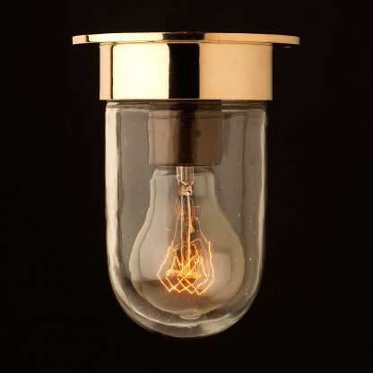 Small brass flushmount light