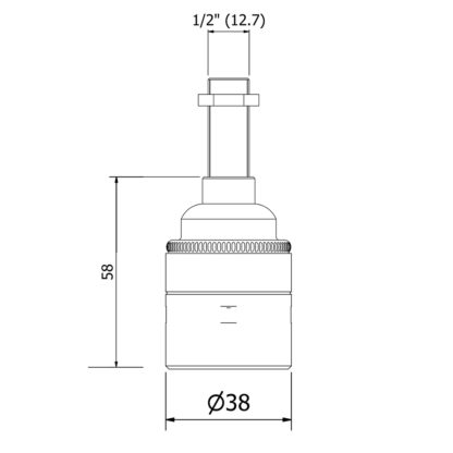 Brass Threaded Lamp holder Edison E27 smooth dimensions