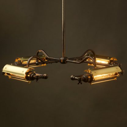 Four Cage Horizontal Tube Bulb Pendant