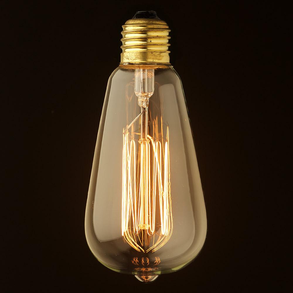 Vintage Edison Squirrel Cage Teardrop Filament Bulb E27