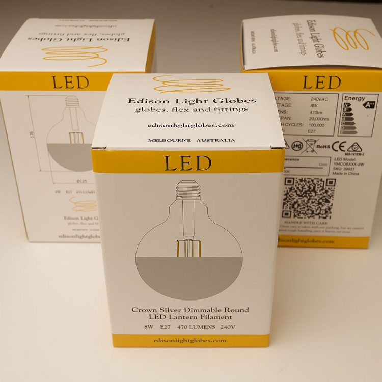 8 Watt Dimmable Crown Silver Filament LED E27 125mm