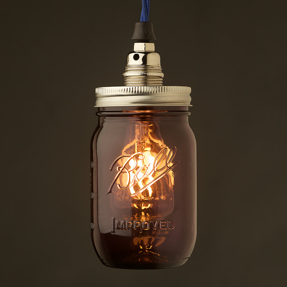 Purple Glass Preserving Jar Nickel E14 240V Pendant Light