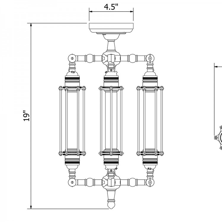 Four Cage Tube Bulb Pendant 185mm