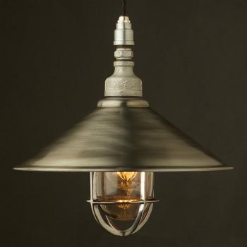 Galvanised-pipe-caged-pendant-antiqued-12-inch