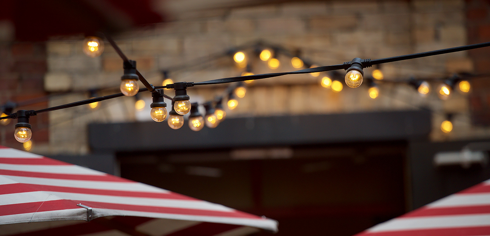Outdoor festoon lighting at trunk diner mozeypictures