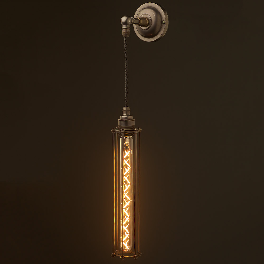 Wall Pendant Light: Long Bulb Cage Wall Pendant Lamp