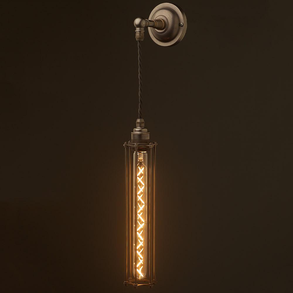 Long Pendant Lights: Bronze Long Bulb Cage Wall Pendant Lamp
