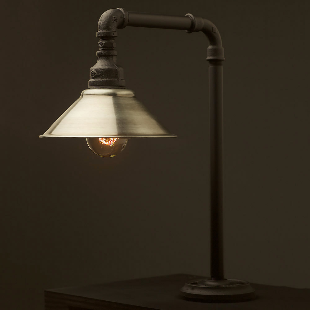 Plumbing pipe fixed table shade lamp for How to make a pipe lamp