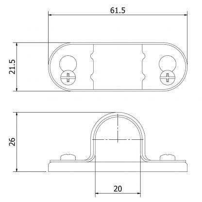 20mm Galvanised Spacer Bar Saddle dimensions