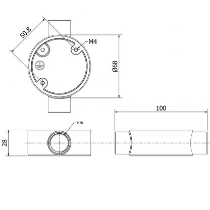 2 Way 20mm Conduit Outlet Junction Box dimensions