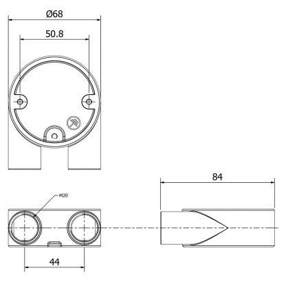 2 Way U 20mm Conduit Outlet Junction Box