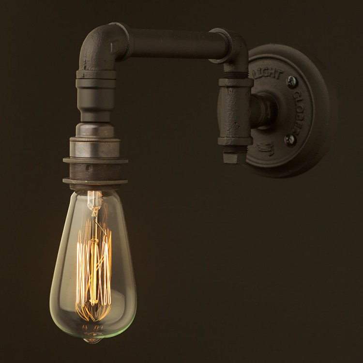 Wall Bracket Light Fittings : Vintage Black Wall Bracket Light