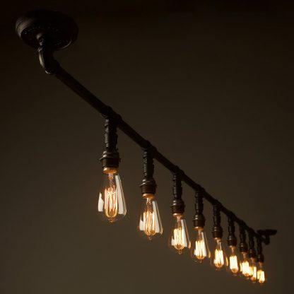 Vintage Galvanised Plumbing Pipe Gantry light