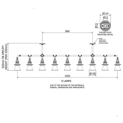 9 insulator plumbing pipe pendant
