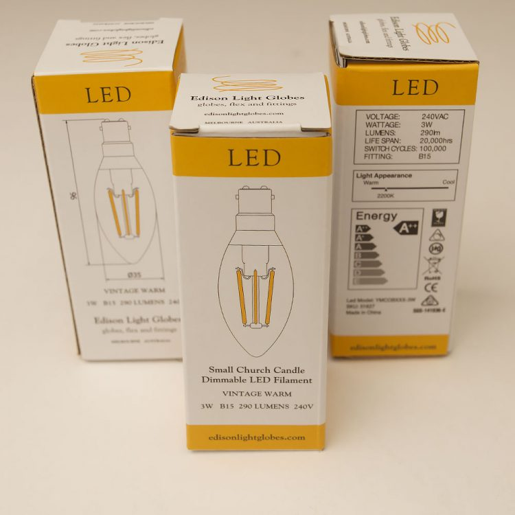 3 Watt Dimmable Filament LED SBC Candle Bulb